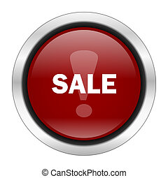 sale icon, red round button isolated on white background, web design illustration