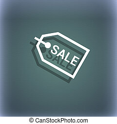Sale icon symbol on the blue-green abstract background with shadow and space for your text.