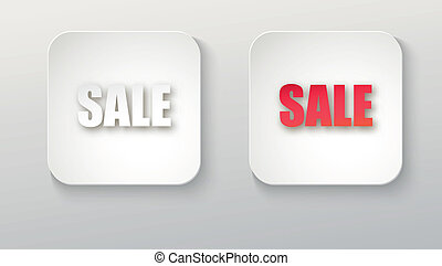 Sale icon, white button with shadow