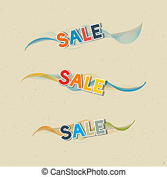 Sale Icons on Recycled Paper Background