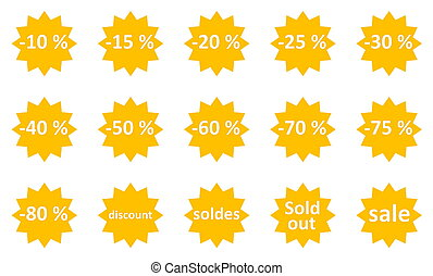 Sale icons - Set of sale gold star icons in white background