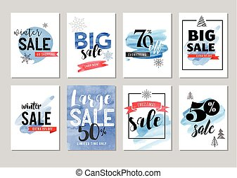 Sale icons, tags, labels and mobile theme. Christmas sale colorful watercolor vector backgrounds, poster design