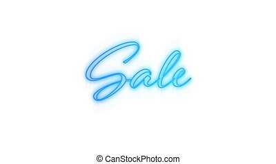 Sale in blue neon on white background