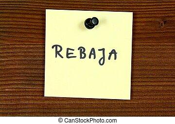 Sale in Spanish - rebaja