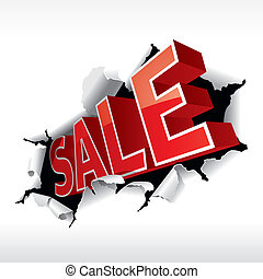 """SALE"" inscription break through white background. Vector..."