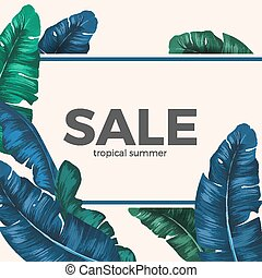 Sale inscription hidden in palm tree leaves seasonal promotion