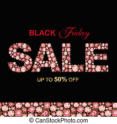SALE inscription made of Red Crystal letters. Black Friday jewelry shop banner concept on black background Letter from diamonds and brilliant. Watercolor Shiny glamour fashion gem font.