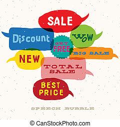 Sale multicolored speech bubbles, vector Eps10 image.