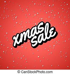 sale., inverno, festivo, cartaz, venda, xmas, decoração, estação, lettering., cartão natal