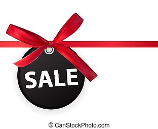 Sale Labei with Bow and Ribbon Isolated on White Background Vector Illustration