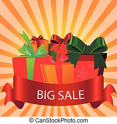 Sale Label Background with Gift Box.