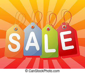 Sale label - Set of price tags spelling out SALE, radial...