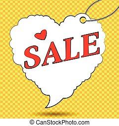 Sale label in form of heart in pop art style