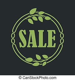 Sale label price tag banner badge in flora design