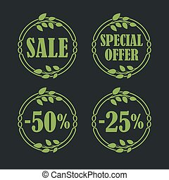 Sale label price tag banner badge in flora design