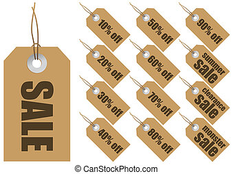 Sale labels - Abstract illustrations of paper labels with...