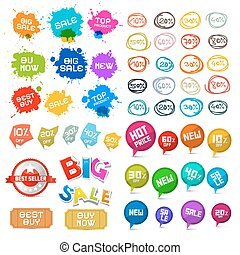 Sale Labels Set. Vector Tags, Stickers and Other Business Icons Isolated on White Background.