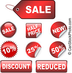 Sale labels - Various discount stickers and labels