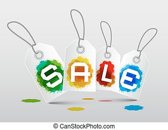 Sale Labels with Splashes - Blots Vector