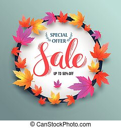 Sale lettering banner circle with maples. Vector illustration.