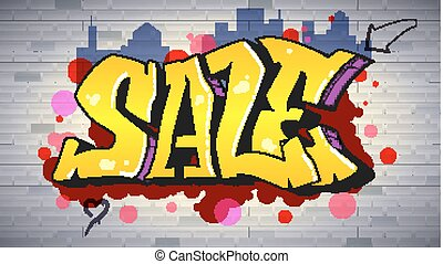 Sale, lettering in hip-hop, graffiti style. Urban ad horizontal poster. Street art on the brick wall. Advertising about discounts. Stylish design of banner with your offer. 3D illustration