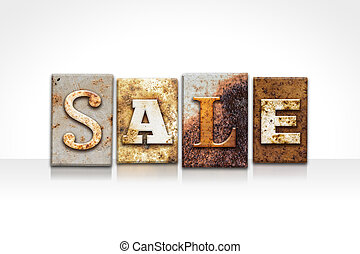 Sale Letterpress Concept Isolated on White