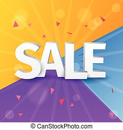 Sale letters poster on colorful background