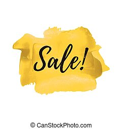 Sale logo, card, poster, text, written on painted yellow background