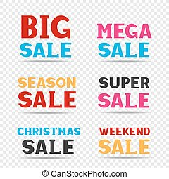 Sale message set - Red pink black and blue big mega super...