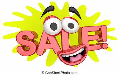 Sale Money Saving Special Offer Discount Cartoon Face 3d Illustration