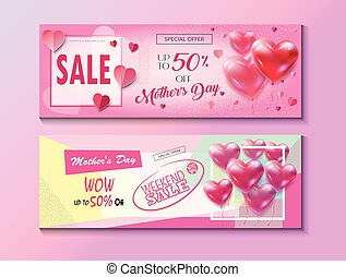 Sale Mother's day banners set, vector illustration. Trendy...