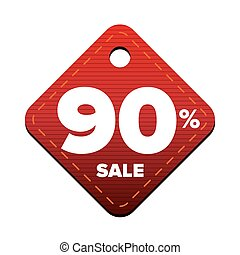 Sale ninety percent pricetag red vector