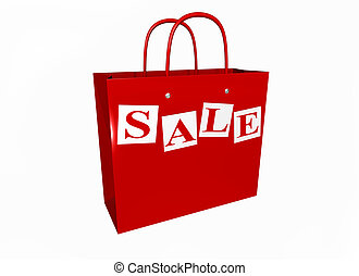 Sale now on - Isolated illustration of a shopping bag in a...