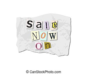 Sale Now On Torn Paper