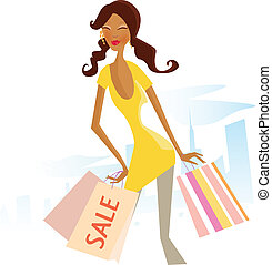 Sale now! - Woman with shopping bags in city. Vector...