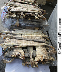 dried stockfish in the fish specialties stall