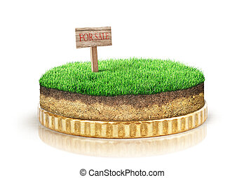 Sale of land concept. Piece of ground with saleboard on coin isolated on a white background.