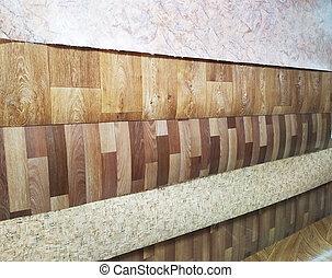 Sale of linoleum with different patterns, background