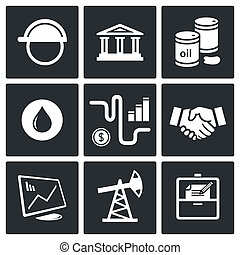 Sale of petroleum products icon set on a black background