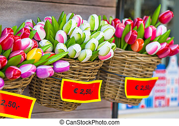 Sale of plastic Dutch tulips in the flower market