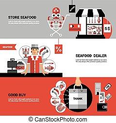 Sale Of Seafood Horizontal Banners
