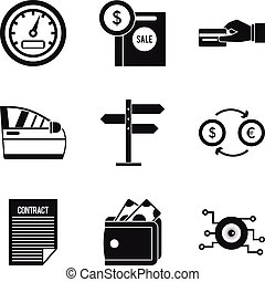 Sale of spare parts icons set, simple style