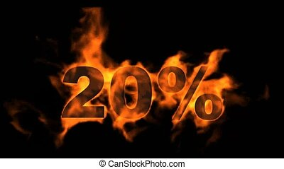 Sale Off 20%,burning twenty Percent Off, fire text.