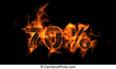 Sale Off 70%,burning seventy Percent Off, fire text.