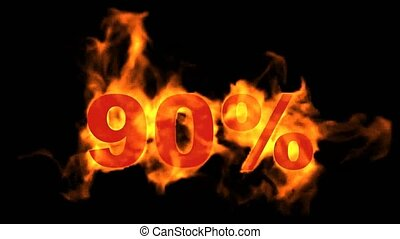 Sale Off 90%,burning ninety Percent Off, fire text.