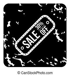 Sale off icon, grunge style