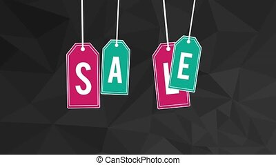 Sale on tag labels HD animation - Sale on tag labels design...