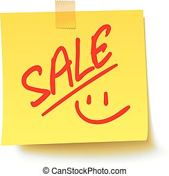 Sale on the sticker. Realistic vector illustration