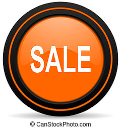 sale orange glossy web icon on white background