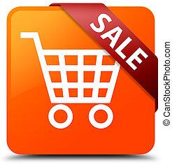 Sale orange square button red ribbon in corner